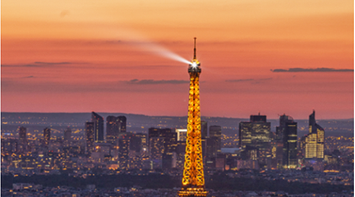 title: Photo of the Tour Eiffel at Sunset from Montparnasse Tower on the 56th Floor at Sunset