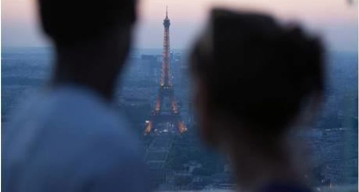 title: Romance on the Terrace of Tour Montparnasse 56 at Dusk