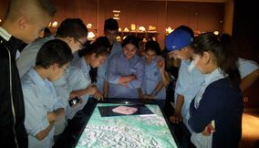 Students Gathered Around Multitouch Table