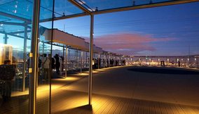 The Colorful Purple Sky over the Montparnasse Tower Terrace of Espace 56