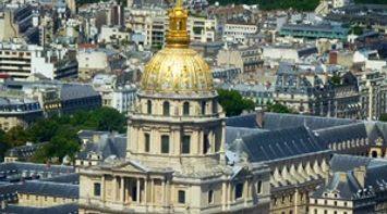 title: The Gold Shiny Dome of Les Invalides Seen from Tour Montparnasse 56