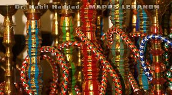 title: Traditional Lebanese Arghileh Hookah for Sale at Jeita Grotto