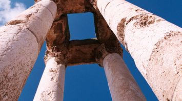 title: A View from Below Anjar Columns on the Historic Site
