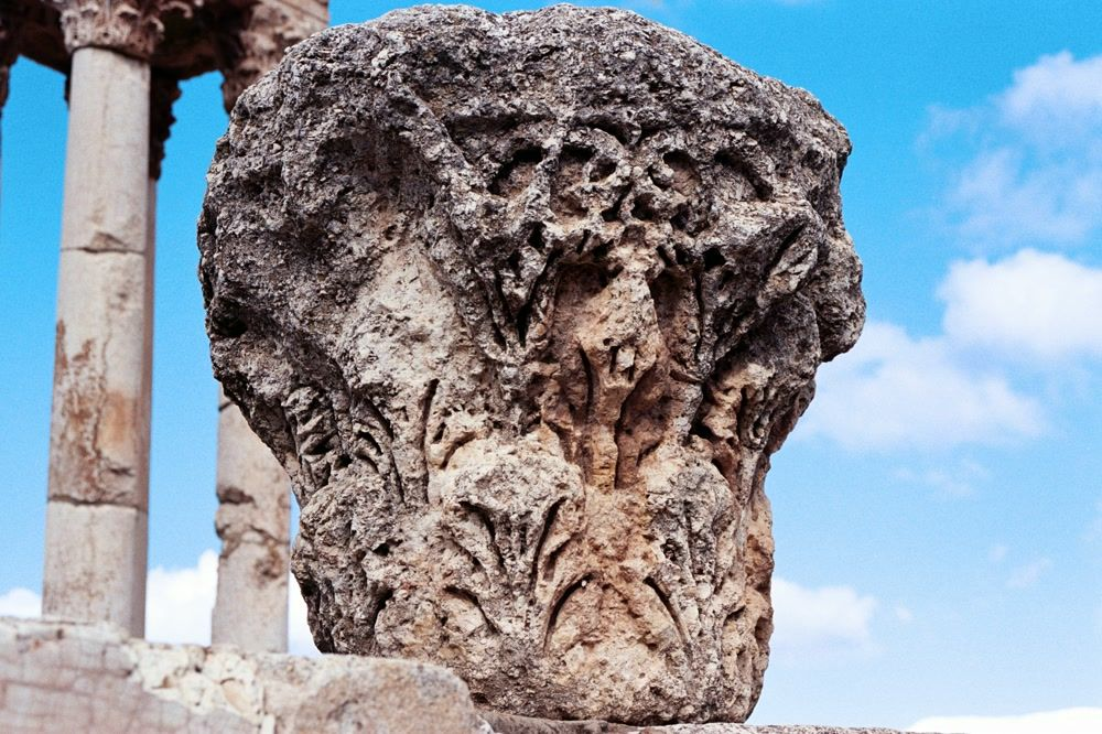 title: Close Up of one of the Stone Column Rocks with Details in Carving