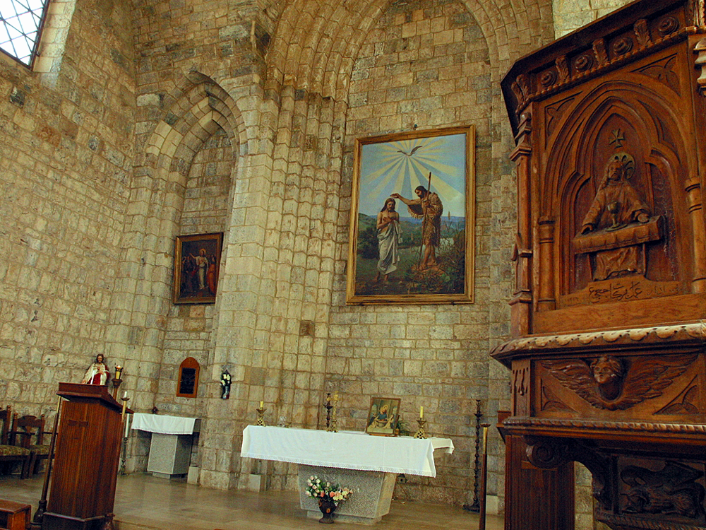 title: Close Up of the Altar of Old Church with Portrait in the cENTER