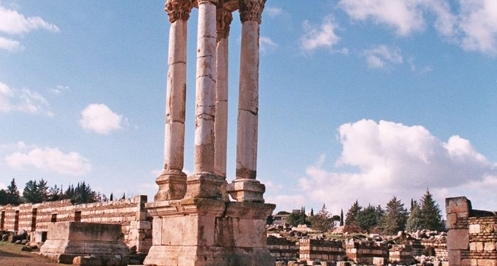 title: Column of the Umayyad Pillar Ruins in the Palace Site