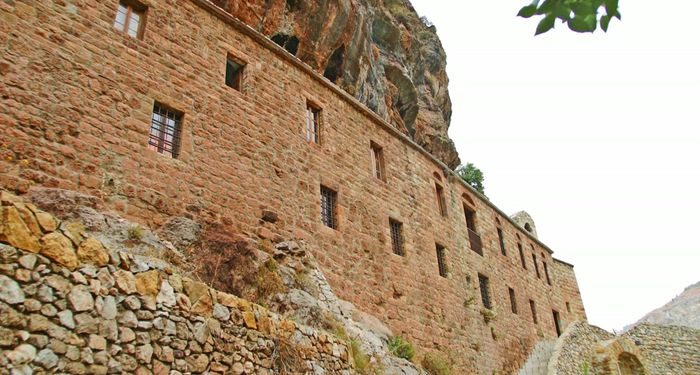 title: Huge Exterior Stone Wall of Church in Bsharri Town