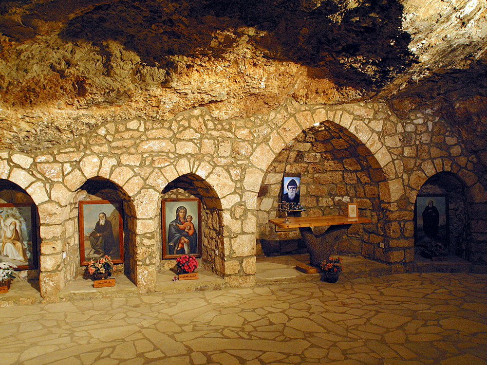 title: Portraits of Religious Icons and Figures inside the Qannoubine Church in Qadisha Valley of Bcharre
