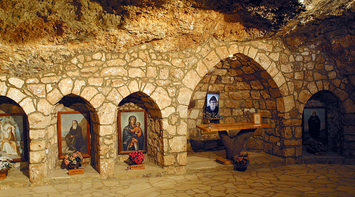 Portraits of Religious Icons and Figures inside the Qannoubine Church in Qadisha Valley of Bcharre