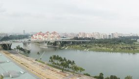 Panorama view from the big wheel of Singapore