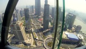Aerial view of Shanghai from the top of the Oriental Pearl Tower