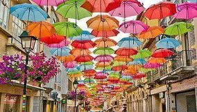 Umbrella street in Agueda Portugal